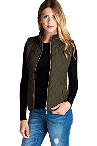 Active USA Quilted Padding Vest With Suede Piping Details (Olive-Small) (Green Vest Quilted)