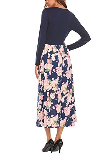 Crisscross High Pleated Champlain Sleeve Neck Long Maxi Women's Beyove Long V Party Floral Waist Casual Dress Color Print nzaPYnxB