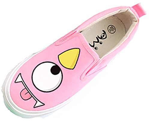 VECJUNIA Boy's Girl's Cut Breathable Soft Flats Fabric Shoes With Cartoon Print (Pink1, 12.5 M US Little Kid)