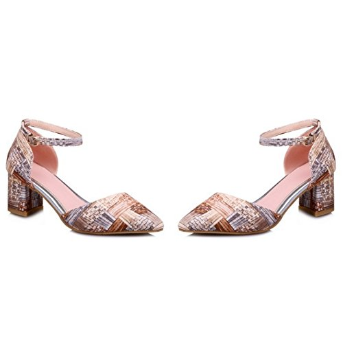 Chunky School apricot Ankle Sandals Women Heel TAOFFEN Fashion Toe Shoes Pointed Girls Strap TYCTWv