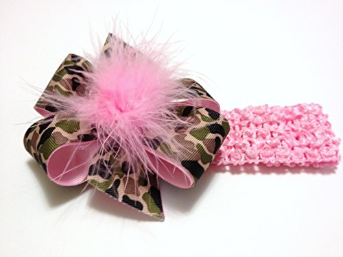 Bébés filles Rose Noir Marron Vert Camouflage Imprimer cheveux Bow Crochet bandeau avec plume Camo cheveux Bow Toddler Fille Accessoires cheveux