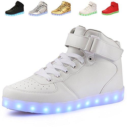 Aosifu 7 Färger Kvinnor Män Pojke Flicka Hög Topp Led-ljus Skor Blinkande Sneakers Vita