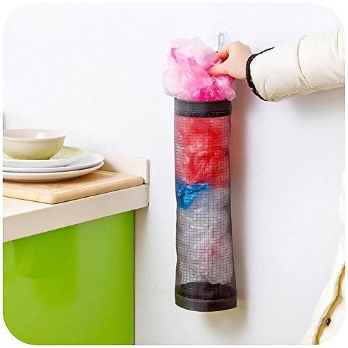 Surenhap 2 Pcs Dispensador de Bolsas de plástico Organizador de Bolsas Hanging Mesh Rubbish para el hogar, Cocina, Cuarto de baño, Oficina - Negro: ...