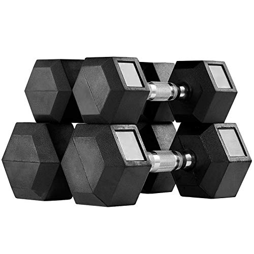 MENCIRO Rubber Encased Hex Dumbbell Set, Dumbbell Hand Weight for Home Gym Free Weight Training