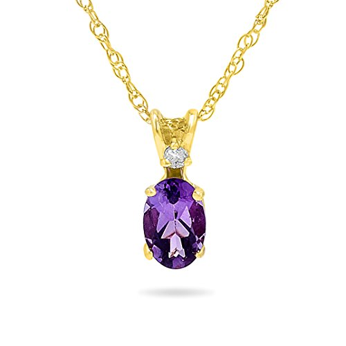 14k Yellow Gold Genuine Oval Purple Amethyst and Diamond Pendant Necklace, Birthstone of February, 18 Inch Chain