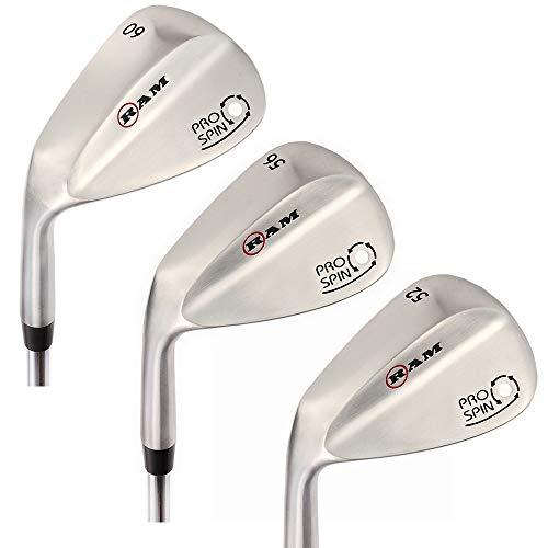 (Ram Golf Pro Spin 3 Wedge Set - 52° Gap, 56° Sand, 60° Lob Wedges - Mens Left Hand)