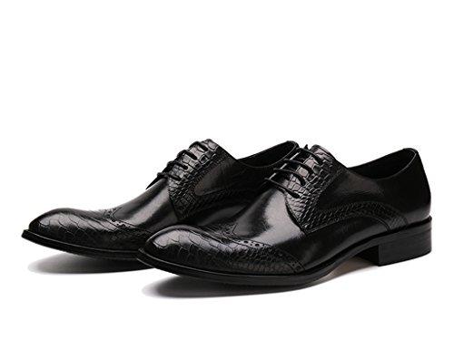 Herren Lederschuhe Herren Lederschuhe wies Business Formelle tragen britischen Stil atmungsaktive Spitze einzelne Schuhe Herrenschuhe ( Farbe : Kaffee - farbe , größe : EU42/UK7.5 ) Schwarz