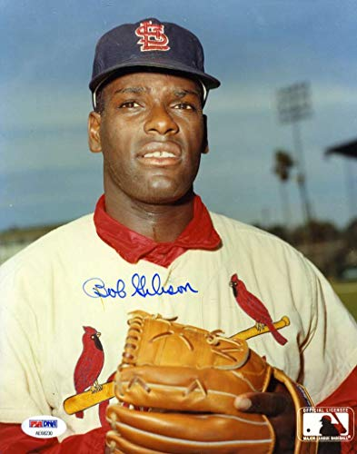 BOB GIBSON PSA DNA COA Autograph 8x10 Cardinals Photo Hand Signed Authentic