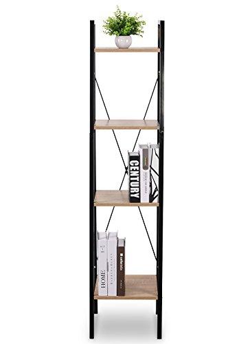 WOLTU Corner Shelf Unit Heavy Duty Wood Ladder Bookshelves Storage Rack Shelf Unit with 4 Shelf Shelving,Wooden Furniture Metal Frame for Bathroom Bedroom