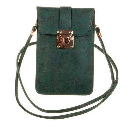 KISS GOLD (TM) Luxury Matte PU Leather Mini Crossbody Single Shoulder Bag Cellphone Pouch (Model A-Green)