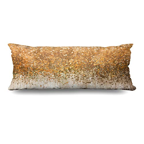(DIYCow Body Pillows Covers Surface Gold Leaf On Golden Wall Abstract Cushion Case Pillowcase Home Sofa Couch Rectangular Size 20 x 60 Inches Pillowslips)
