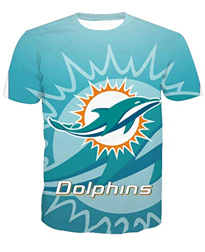 Men's O-Neck Short Sleeve3D Print Miami Dolphin Football Team Summer -
