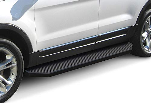 Rails Explorer - APS iBoard 6-inch Aluminum (Black Powder Coated Flat Style) Running Boards | Nerf Bars | Side Steps | Step Rails for 2011-2019 Ford Explorer Sport Utility 4-Door