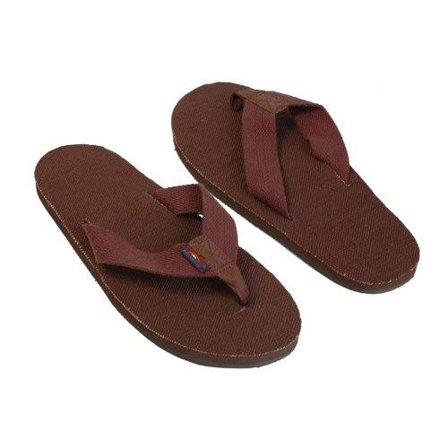 Rainbow Sandals Men's Hemp Single Layer Wide Strap with Arch, Brown, Men's X-Large / 11-12 D(M) US