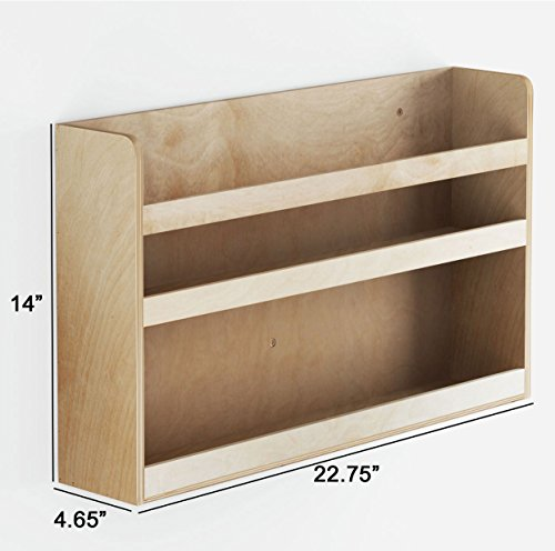Children's Kids Room Wall Shelf Wood Material Great For Bunk Bed Nursery Room Books and Toys Organization Storage (Natural Wood)