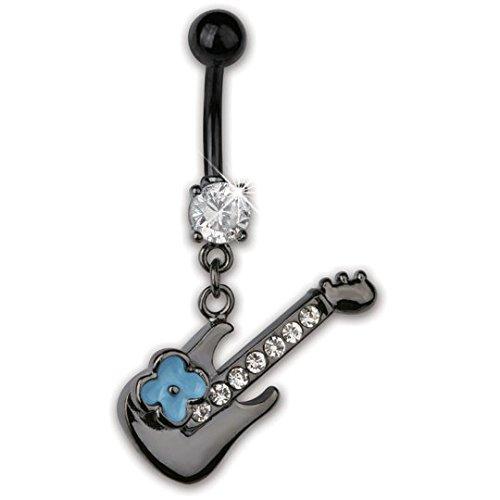 ZIPA - Piercing Banana Ombligo Mujer Negro Azul Guitarra Eléctrica Flor Rock Circonita Blanca Metal - Vendido por unidad: ZIPA: Amazon.es: Joyería
