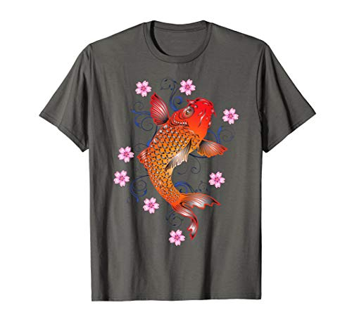 Koi Fish Tattoo Style T-shirt with Flowers