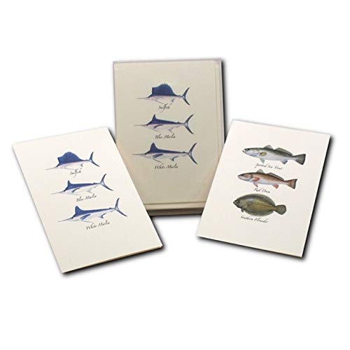 Earth Sky + Water - Saltwater Fish Assortment Notecard Set - 8 Blank Cards with Envelopes (4 each of 2 styles)