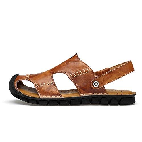 Traspiranti Sandali da Simple Shoes Pelle Beach Uomo Darkbrown Antiscivolo in Sandali Summer vgqv1T