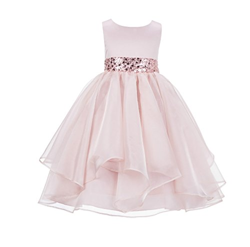 ekidsbridal Asymmetric Ruffled Organza Sequin Flower Girl Dress Toddler Girl Dresses 012S 2 -