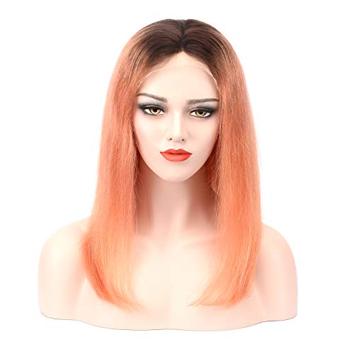 Imiss Hair Glueless Brazilian Lace Front Wigs #2 Ombre Blond Orange 10inch Straight Style Middle Part Human Virgin Color Wigs 150% Density for Women Girls