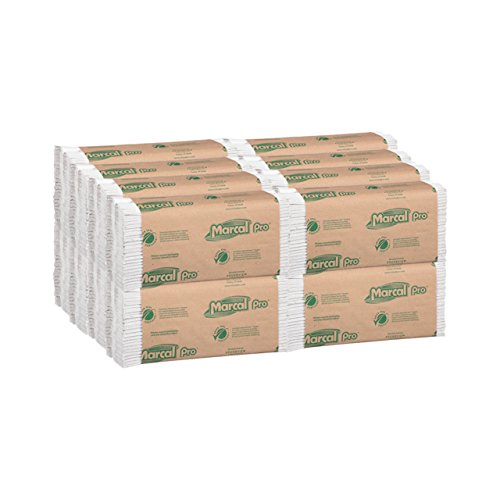 Marcal Pro C-Fold Paper Towels, 100 % Recycled 1-Ply, 150 Folded Towels Per Pack, 16 Packs Per Case - 2400 Disposable Green Seal Certified Paper Towels ()