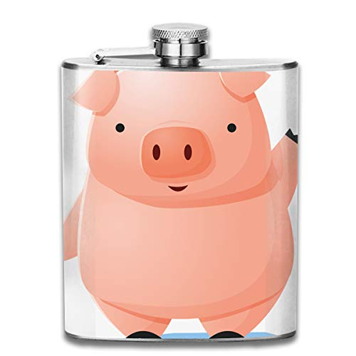 UBSOCKSG Perfect Cartoon Waving Pig Stainless Steel Hip Flask 7 OZ - Sneak Alcohol Anywhere for ()