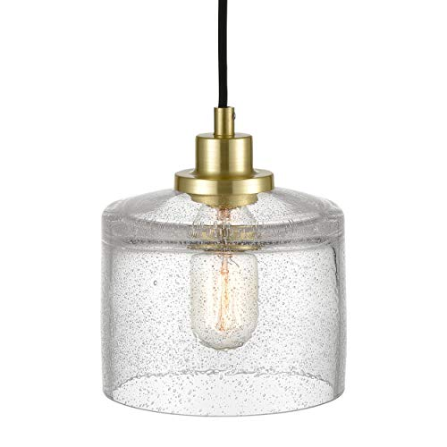 (WILDSOUL 20071-BB Classic Pendant Light Hand Blown Glass Ceiling Lights, Contemporary Hanging Light, Seedy Glass Shade, Brushed Brass)