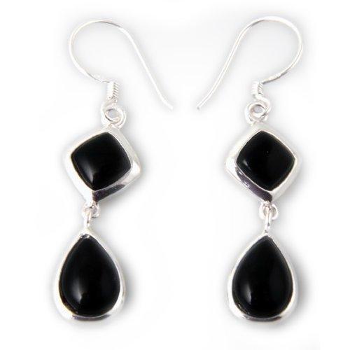(Sterling Silver Faux Black Onyx Dangle Earrings, Drop Earring for women, Hook Silver Earring )
