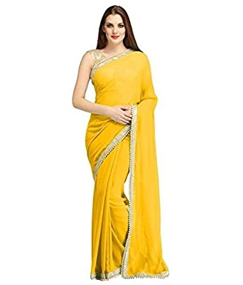 983250b069384 Elexsis Fashion Chiffon Silk Saree With Blouse Piece (EL China  Yellow Yellow Free Size)  Amazon.in  Clothing   Accessories