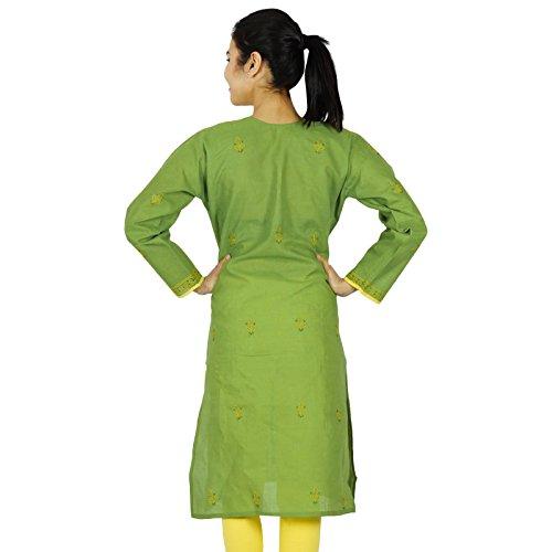 Chikan bordado Kurta diseñador indio Mujeres Kurti Algodón tapa del vestido de la túnica Verde y amarillo