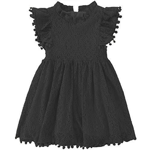 Niyage Toddler Girls Elegant Lace Pom Pom Flutter Sleeve Party Princess Dress Black 140