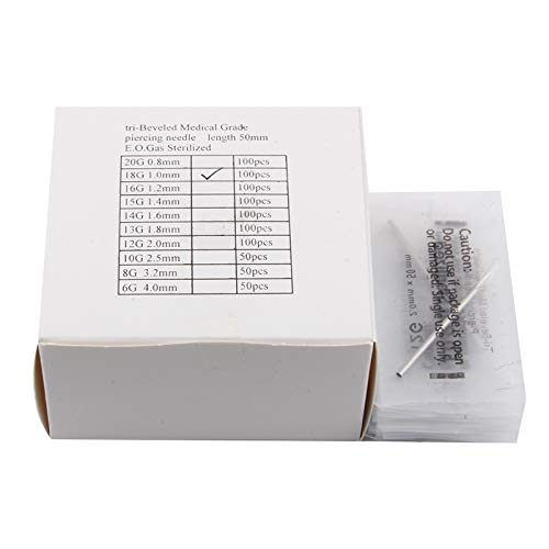 Ear Nose Piercing Needles- 100PCS 18G Disposable Sterilized Stainless Steel for Body Piercing Tools by LiQi