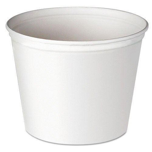 SOLO 3T1U Double Wrapped Paper Bucket, Unwaxed, White, 53 oz, 50/Pack