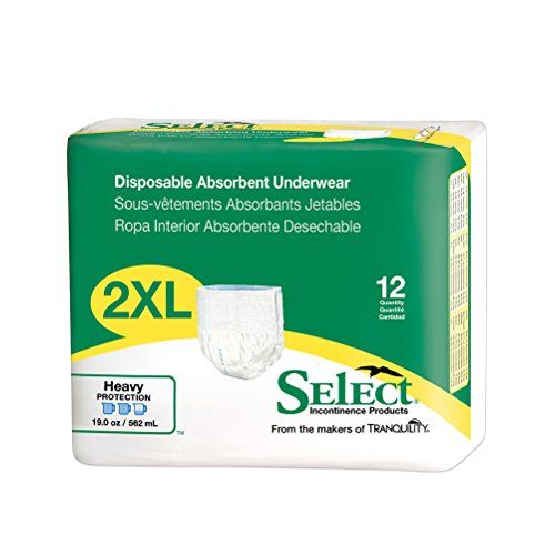 Select Pull-On Disposable Underwear XXL Pack/12 (62-80 in.) (Select Disposable Briefs)
