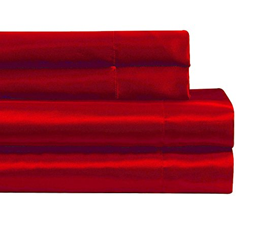 c Satin Sheet set Super soft New (Queen, Red) ()