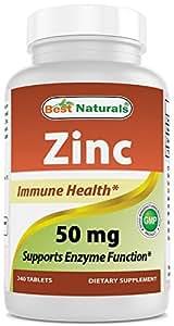 Amazon Com Best Naturals Zinc Supplement As Zinc Gluconate 50mg 240