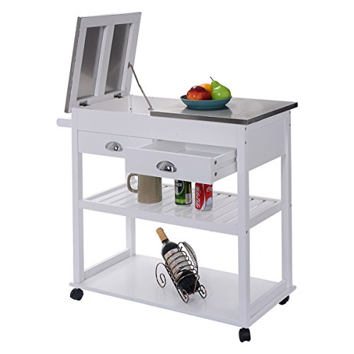 Giantex White Rolling Kitchen Trolley Cart Stainless Steel Flip Top W Drawers Casters