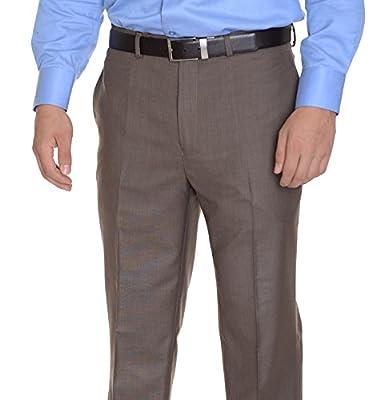 Calvin Klein Regular Fit Light Brown Heather Flat Front Washable Dress Pants