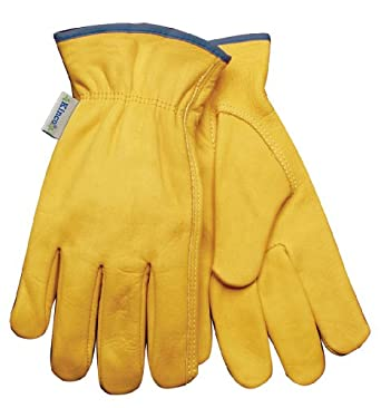 Kinco 98W Unlined Grain Cowhide Leather Women's Glove, Work, Small, Golden (Pack of 6 Pairs)