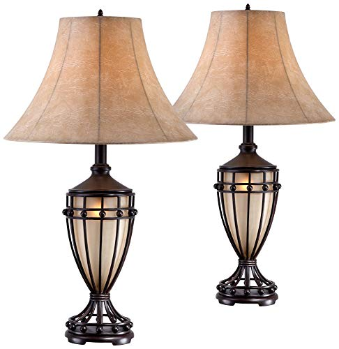 Cardiff Traditional Table Lamps Set of 2 with Nightlight Brushed Iron Urn Beige Fabric Shade for Living Room Bedroom - Franklin Iron Works
