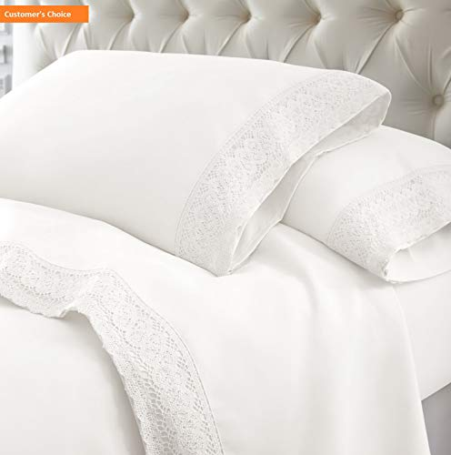 - Mikash New Soft 4-Piece Crochet Lace Bed Sheet Set, Twin, White | Style 84601254