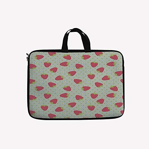 3D Printed Double Zipper Laptop Bag,Strawberry Polka Dots Ch