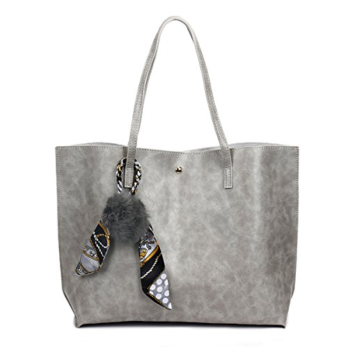 KAMIERFA Vintage Oil PU Leather Tote Bags for Women Ladies Elegant Shoulder Bags with Pompom Grey