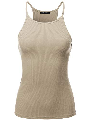 (Awesome21 Solid High Neck Racer-Back Ribbed Spaghetti Strap Tank Top Tan L)