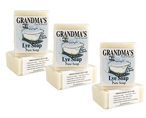 Grandma s Pure Lye Soap Bar – 6.0 oz Unscented Face Body Wash Cleans with No Detergens, Dyes Fragrances – 60018, pack-of-6