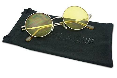 Sunglass Stop - Small Retro Vintage Lennon Style Round Thin Circle Metal Color Tint Sunglasses (Yellow - Glasses Tint Yellow