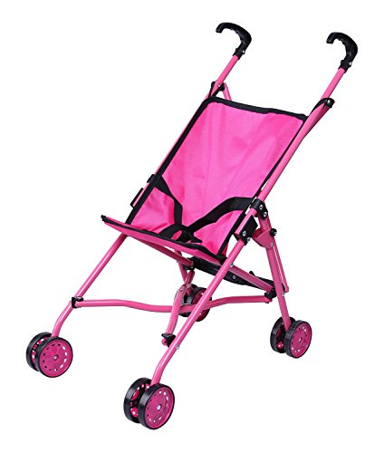 Precious Toys Hot Pink Umbrella Doll Stroller, Black