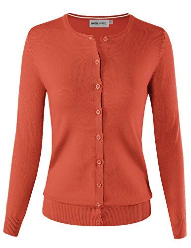 MAYSIX APPAREL Women's Knit Long Sleeve Lightweight Button Down Round Neck Sweater Cardigan ORANGE 1XL