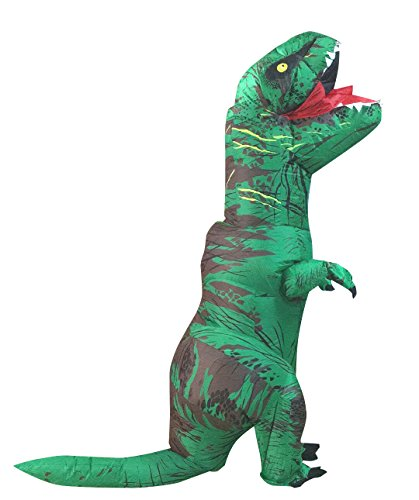 Self Made Halloween Costumes For Men (Seasonblow Adult Inflatable T-rex Dinosaur Halloween Suit Cosplay Fantasy Costume Green with USB Cable)